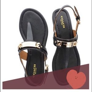 COACH brand Caterine Black patent leather sandals